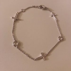 Dainty cross bracelet sterling silver